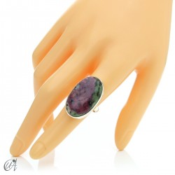 Zoisite ruby and silver ring, size 14 model 1
