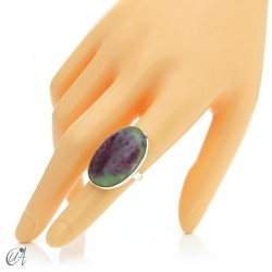 Zoisite ruby and silver ring, size 14 model 3