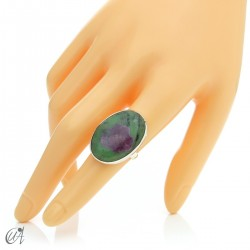 Zoisite ruby and silver ring, size 15 model 2