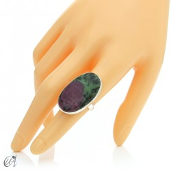 Zoisite ruby and silver ring, size 16 model 1