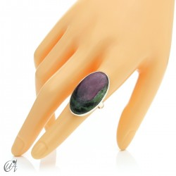 Zoisite ruby and silver ring, size 16 model 2