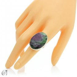 Zoisite ruby and silver ring, size 17 model 2