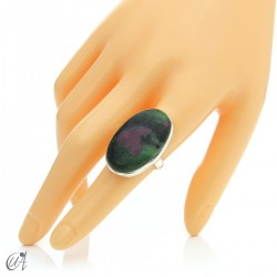 Zoisite ruby and silver ring, size 18 model 1