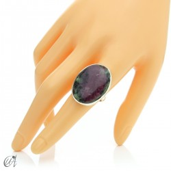 Zoisite ruby and silver ring, size 19 model 2