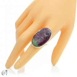 Zoisite ruby and silver ring, size 19 model 3