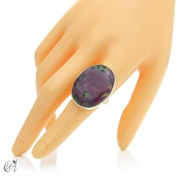 Zoisite ruby and silver ring, size 20