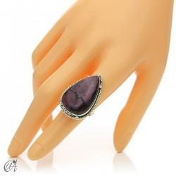 Ruby drop ring in silver, size 15 model 2