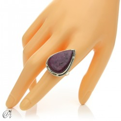 Ruby drop ring in silver, size 17