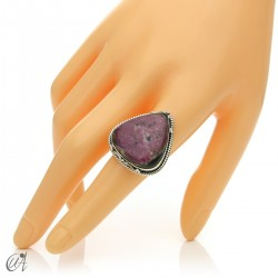 Ruby drop ring in silver, size 18 model 1