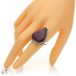 Ruby drop ring in silver, size 20 model 1