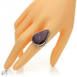 Ruby drop ring in silver, size 20 model 2