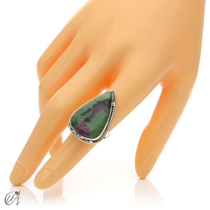Zoisite ruby tear ring in silver, size 14 model 1
