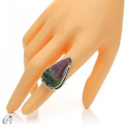 Zoisite ruby tear ring in silver, size 14 model 2