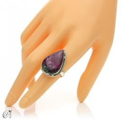 Zoisite ruby tear ring in silver, size 15 model 1