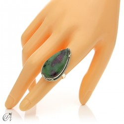 Zoisite ruby tear ring in silver, various options