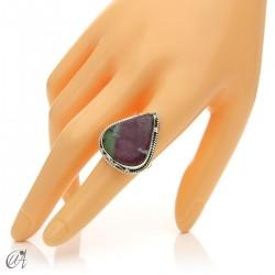 Zoisite ruby tear ring in silver, size 16 model 1