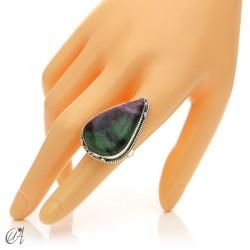 Zoisite ruby tear ring in silver, size 16 model 2