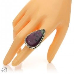 Zoisite ruby tear ring in silver, size 16 model 3