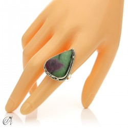 Zoisite ruby tear ring in silver, size 17 model 2