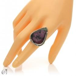 Zoisite ruby tear ring in silver, size 19 model 1