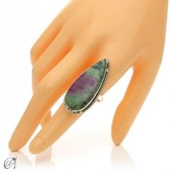 Zoisite ruby tear ring in silver, size 19 model 3
