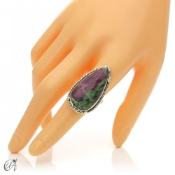 Zoisite ruby tear ring in silver, size 20 model 1