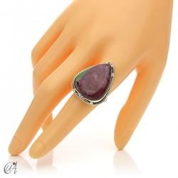 Zoisite ruby tear ring in silver, size 20 model 2