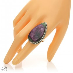 Zoisite ruby tear ring in silver, size 20 model 3