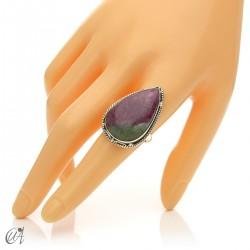 Zoisite ruby tear ring in silver, size 21 model 1