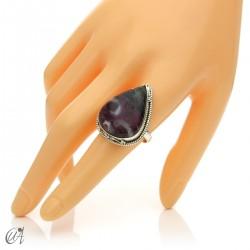 Zoisite ruby tear ring in silver, size 22 model 1