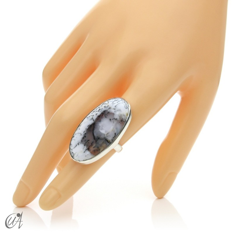 Dendritic Opal Ring and Sterling Silver, Size 12