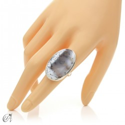 Dendritic opal ring and sterling silver, size 13 model 2
