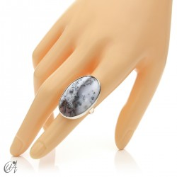 Dendritic opal ring and sterling silver, size 14 model 1