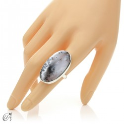 Dendritic opal ring and sterling silver, size 14 model 2