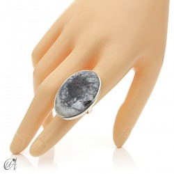 Dendritic opal ring and sterling silver, size 14 model 3