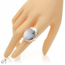 Dendritic opal ring and sterling silver, size 15 model 1