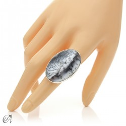 Dendritic opal ring and sterling silver, size 16 model 2