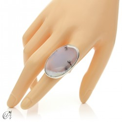 Dendritic opal ring and sterling silver, size 18 model 3