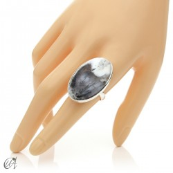 Dendritic opal ring and sterling silver, size 19 model 2