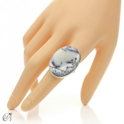 Dendritic opal ring and sterling silver, size 21 model 1