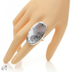 Dendritic opal ring and sterling silver, size 22 model 3