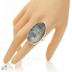 Dendritic opal ring and sterling silver, size 23 model 1