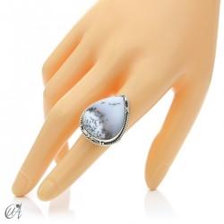 Ópalo dendrítico en plata de ley, anillo gota, talla 14 modelo 1