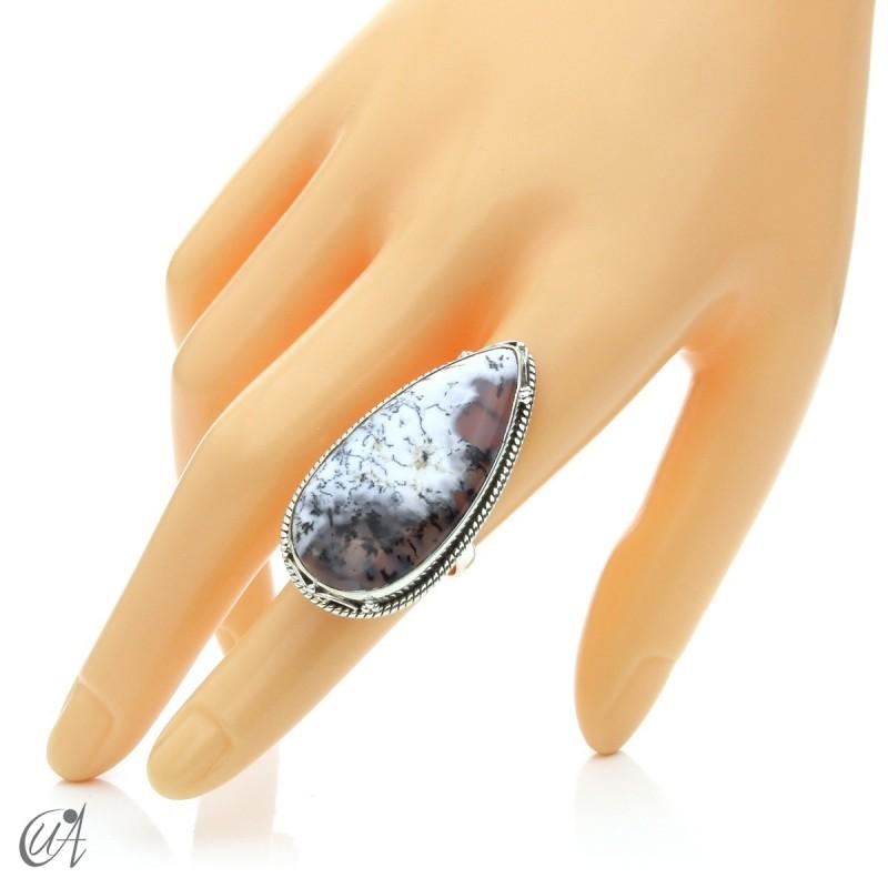 Ópalo dendrítico en plata de ley, anillo gota, talla 14 modelo 2