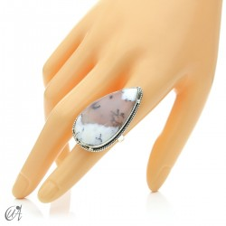 Dendritic opal in sterling silver, drop ring, size 16 model 1