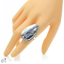 Ópalo dendrítico en plata de ley, anillo gota, talla 16 modelo 2
