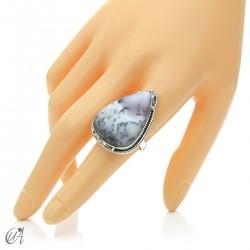 Ópalo dendrítico en plata de ley, anillo gota, talla 17 modelo 1