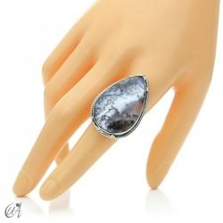 Ópalo dendrítico en plata de ley, anillo gota, talla 20 modelo 1