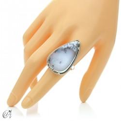 Ópalo dendrítico en plata de ley, anillo gota, talla 20 modelo 2