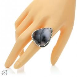 Ópalo dendrítico en plata de ley, anillo gota, talla 21 modelo 1
